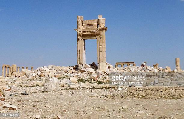 General view shows the remains of the entrance to the iconic Temple of Bel that was destroyed by Islamic State group jihadists in September 2015 in...
