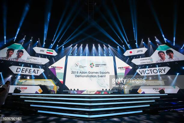 General view shows the result of Asian Games Esports Demonstration Event Pro Evolution Soccer Final match at Mahaka Square on day fourteen of the...