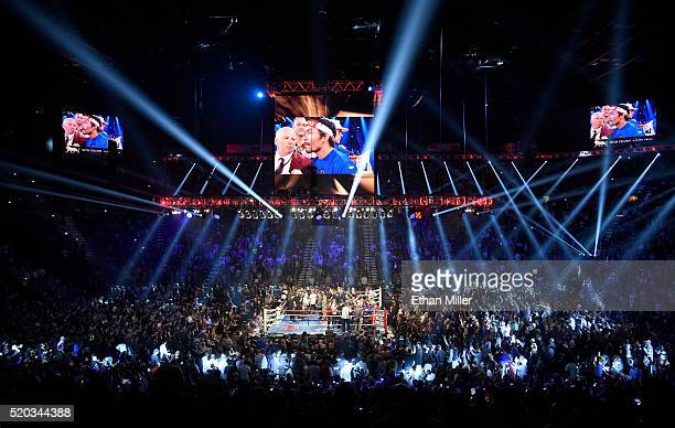 A general view shows the ring as Manny Pacquiao and Timothy Bradley Jr are introduced before their welterweight fight at MGM Grand Garden Arena on...