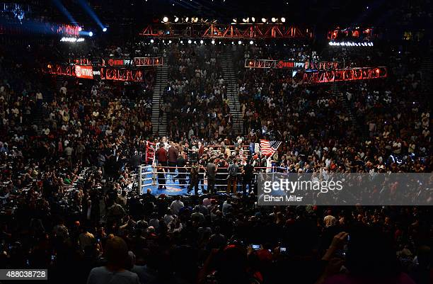 A general view shows the ring before the start of the WBC/WBA welterweight title fight between Floyd Mayweather Jr and Andre Berto at MGM Grand...