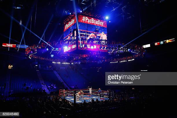 A general view shows the ring during the super middleweight fight between Leon Bauer and Ilshat Khusnulgatin on April 9 2016 at MGM Grand Garden...