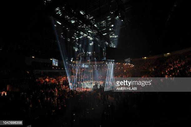 A general view shows the ring where British boxers Callum Smith and George Groves fought for the World Boxing Super Series SuperMiddleweight Ali...