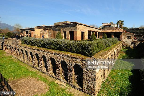 A general view shows the Roman Villa of the Mysteries which was newly restored and reopened to the public in the archaeological site of Pompeii in...