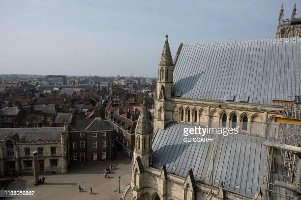 A general view shows the roof of the South Transept of York Minster which was reconstructed after a major fire in 1984 in York northern England on...