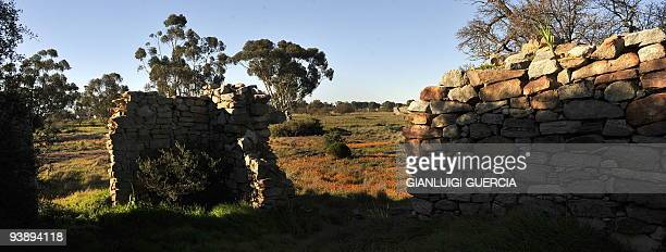 General view shows the ruins of a Dutch settler on August 10 2009 on the outskirt of the small town of Nieuwoudtville in the Northern Cape Spring has...