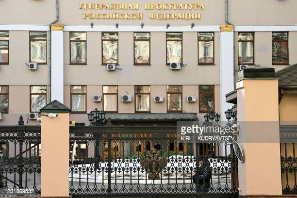 General view shows the Russian General Prosecutor's Office in Moscow on March 19, 2021.