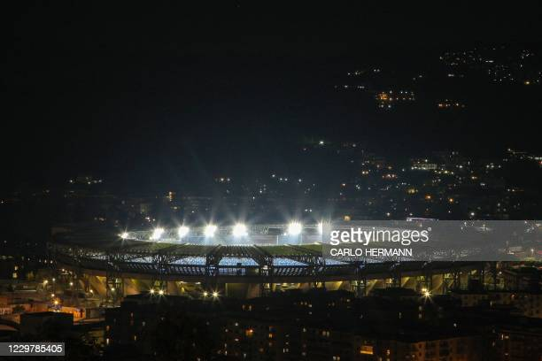 General view shows the San Paolo stadium in Naples on November 25, 2020 after the annoucement's of Argentinian football legend Diego Maradona's...