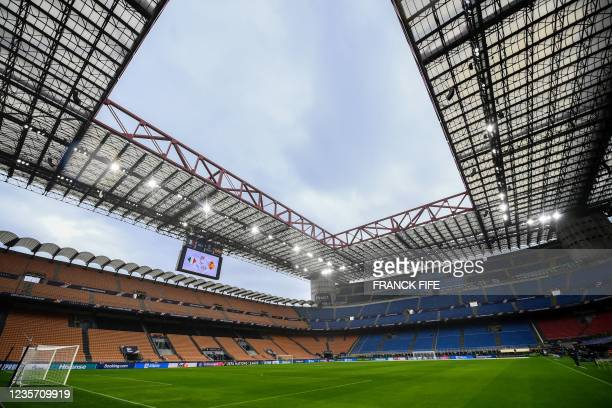 General view shows the San Siro stadium prior to a training session of Italy's national football team on October 5, 2021 in Milan, on the eve of...