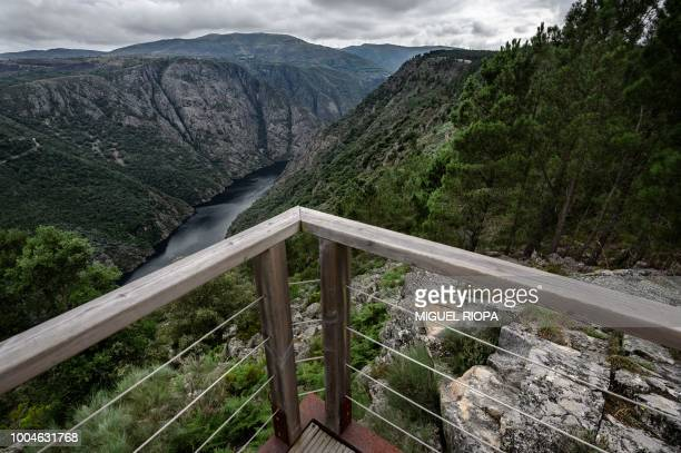 A general view shows the Sil Canyon from the Boquerino viewpoint near the village of Sober in the Galicia region of northwestern Spain on July 21...