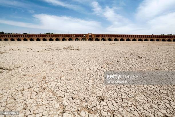 A general view shows the SioSe Pol bridge over the Zayandeh Rud river in Isfahan which now runs dry due to water extraction before it reaches the...