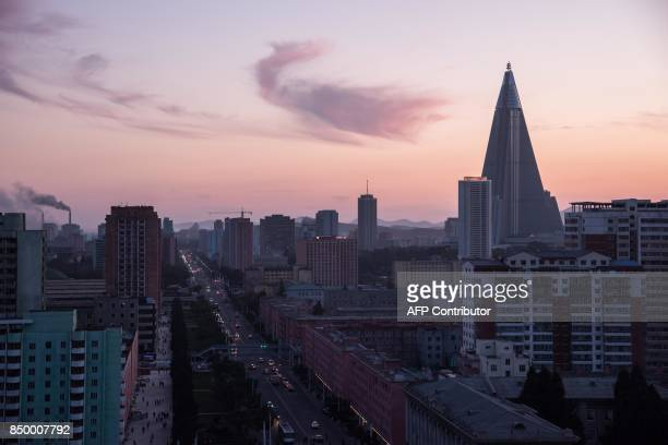 A general view shows the skyline of Pyongyang on September 20 2017 / AFP PHOTO / ED JONES
