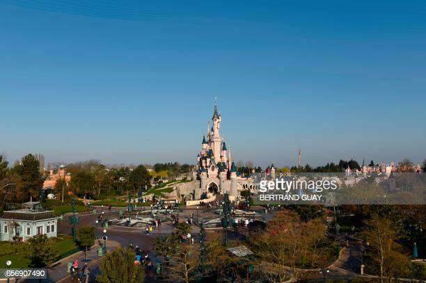 A general view shows the Sleeping Beauty Castle as Disneyland originally Euro Disney Resort marks the 25th anniversary on March 16 2017 in...