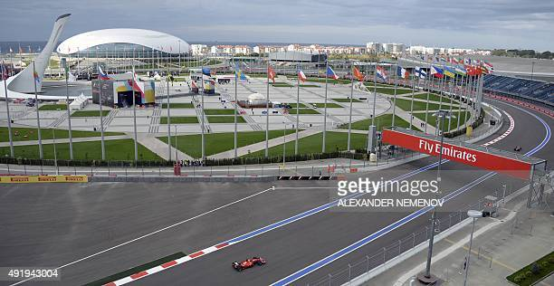 A general view shows the Sochi Autodrom circuit during the practice session of the Russian Formula One Grand Prix on October 9 2015 AFP PHOTO /...