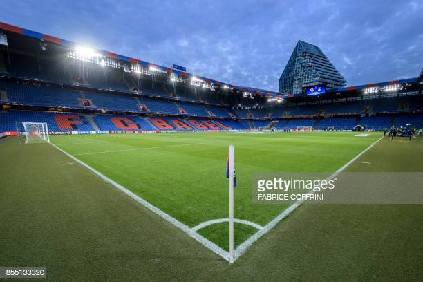 A general view shows the St JakobPark Stadium prior to the UEFA Champions League Group A football match between FC Basel 1893 and SL Benfica on...