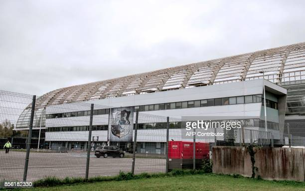 A general view shows the Stade de la Licorne in Amiens northern France on October 1 a day after the French L1 football match Amiens SC v Lille during...