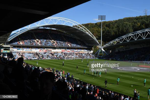 General view shows the stadium as the teams warm up for the English Premier League football match between Huddersfield Town and Tottenham Hotspur at...