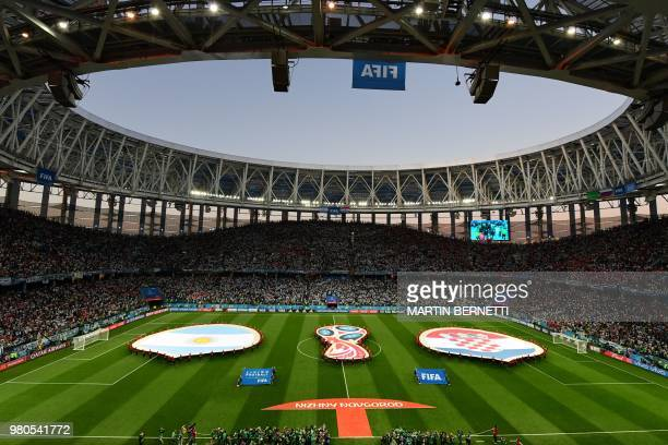 A general view shows the stadium before the Russia 2018 World Cup Group D football match between Argentina and Croatia at the Nizhny Novgorod Stadium...