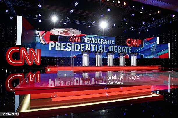 A general view shows the stage during a walkthrough before a Democratic presidential debate sponsored by CNN and Facebook at Wynn Las Vegas on...