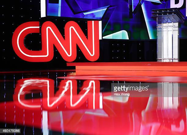 General view shows the stage during a walk-through before a Democratic presidential debate sponsored by CNN and Facebook at Wynn Las Vegas on October...