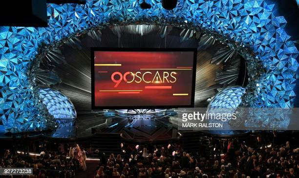 A general view shows the stage during the 90th Annual Academy Awards show on March 4 2018 in Hollywood California / AFP PHOTO / Mark RALSTON