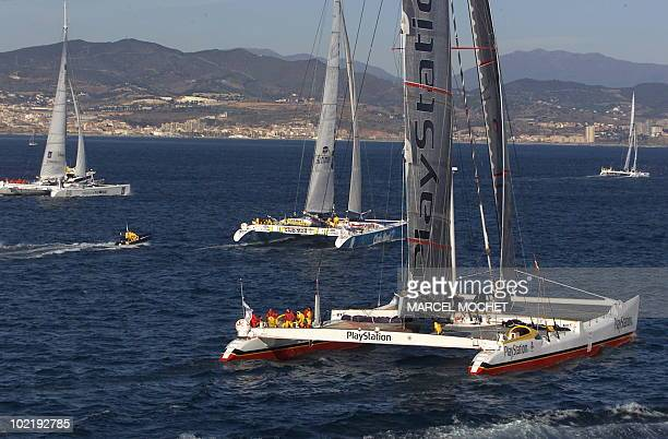 General view shows the start of the round the world regatta 'The Race' in Barcelona 31 December 2000 AFP PHOTO MARCEL MOCHET