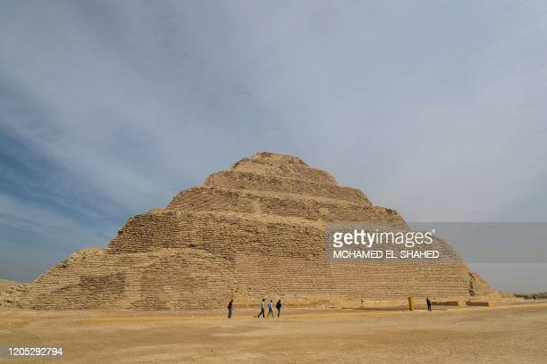 A general view shows the step pyramid of Djoser in Egypt's Saqqara necropolis south of the capital Cairo on March 5 2020 Egyptian authorities...
