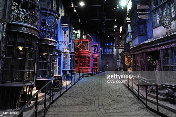 A general view shows the stores that line Diagon Alley during a preview of the Warner Bros Harry Potter studio tour 'The Making of Harry Potter' in...