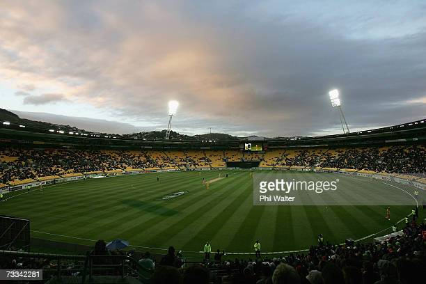 A general view shows the sun setting over Westpac Stadium during the first oneday international match of the ChappellHadlee Trophy series between New...