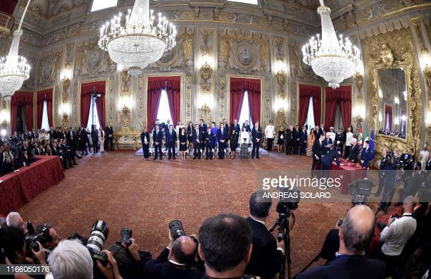 General view shows the swearing-in ceremony of the new Cabinet at the Quirinale presidential palace in Rome on September 5, 2019. - Prime Minister...