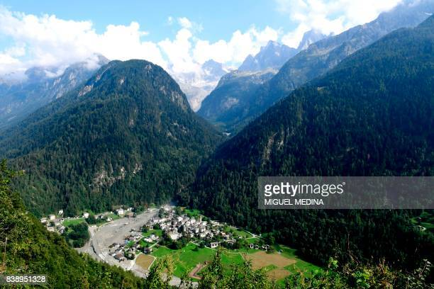A general view shows the Swiss village of Bondo after another landslide on August 25 2017 Eight hikers are still missing after a massive landslide...