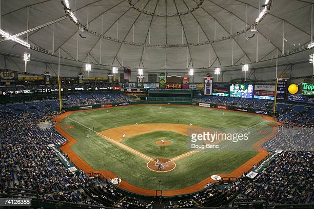 General view shows the Tampa Bay Devil Rays game against the Oakland Athletics at Tropicana Field on May 5, 2007 in St. Petersburg, Florida. The...