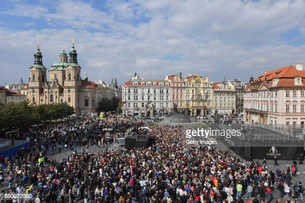 A general view shows the teams greet the fans ahead of the Laver Cup on September 20 2017 in Prague Czech Republic The Laver Cup consists of six...