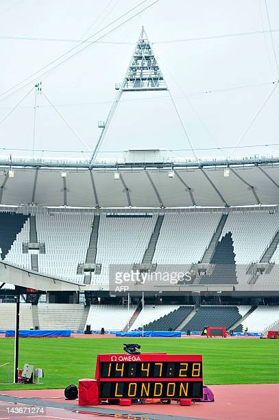 A general view shows the timing board at the Olympic Stadium in London on May 2 2012 at an event ahead of the BUCS Outdoor Athletics Championships a...
