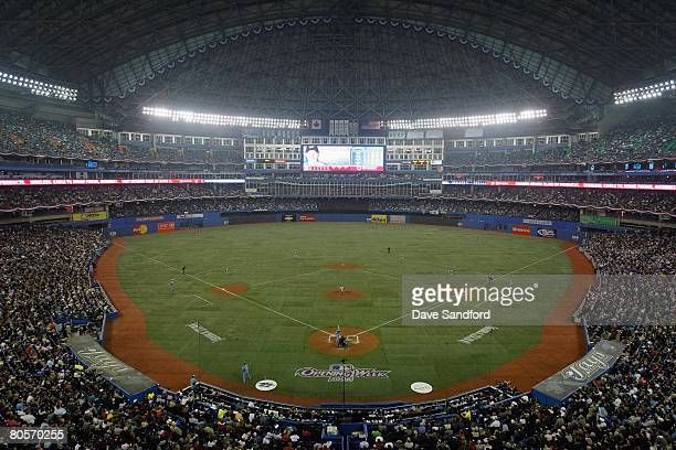 A general view shows the Toronto Blue Jays game against the Boston Red Sox at Rogers Centre on April 4 2008 in Toronto Ontario
