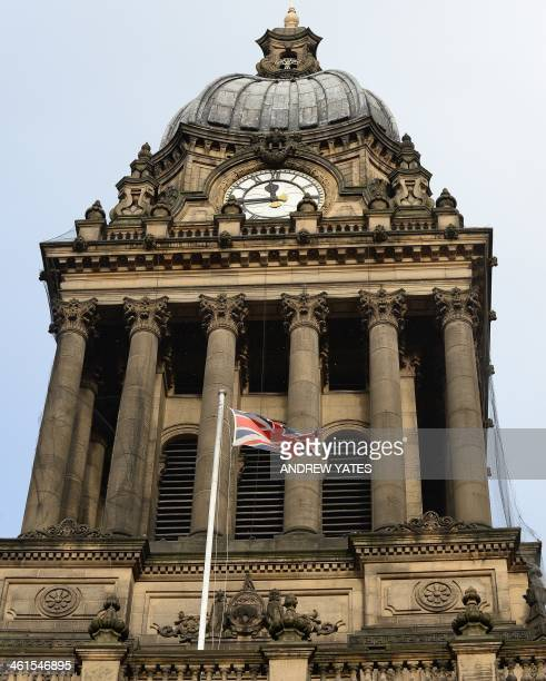 A general view shows the tower on the top of Leeds Town Hall in Leeds northwest England on January 9 2014 Leeds Town Hall was constructed in the mid...