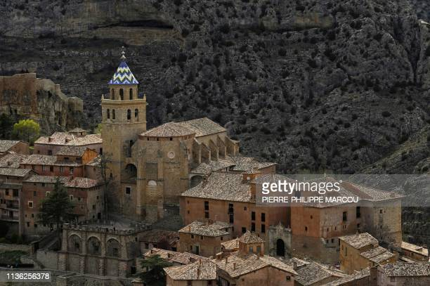 General view shows the town of Albarracin in the hills of east-central Spain on April 9, 2019. - Ahead of an election on April 28 that is tipped to...