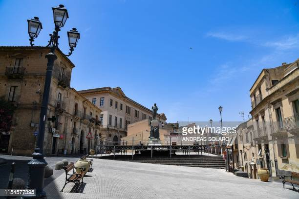 A general view shows the town's main square on July 8 2019 in Mineo southern Sicily