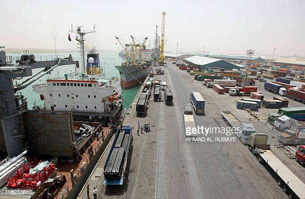 A general view shows the Umm Qasr port in the southern Iraqi city of Basra on June 9 2011 AFP PHOTO/AHMAD ALRUBAYE