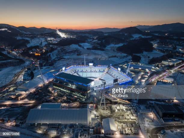 TOPSHOT A general view shows the venue for the opening and closing ceremonies of the 2018 Pyeongchang winter Olympics in Pyeongchang on January 23...