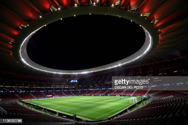 A general view shows the Wanda Metropolitan stadium in Madrid ahead of the UEFA Champions League round of 16 first leg football match between Club...