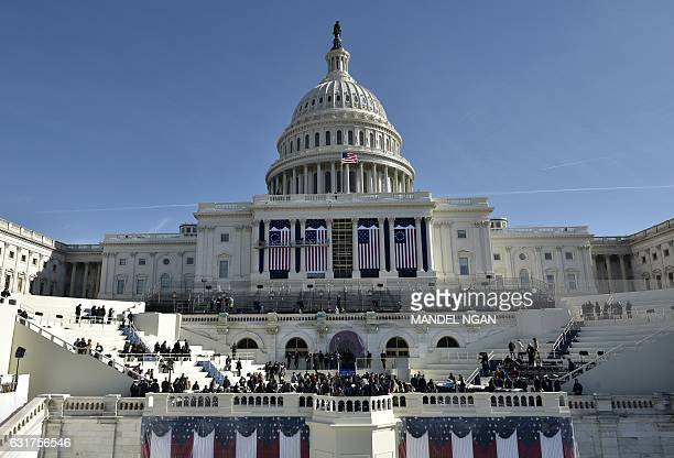 TOPSHOT A general view shows the West side of the US Capitol during a rehearsal for the inauguration of US Presidentelect Donald Trump on January 15...