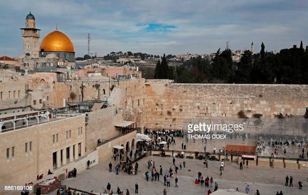 A general view shows the Western Wall and the Dome of the Rock in the AlAqsa mosque compound in the Old City of Jerusalem on December 5 2017 The EU's...