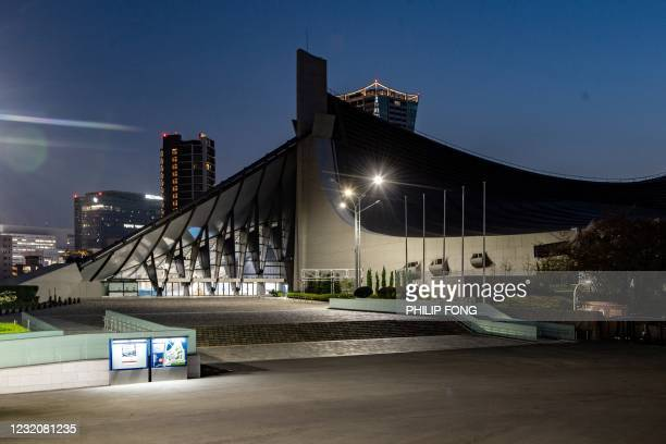 General view shows the Yoyogi National Stadium, a venue for handball, badminton and wheelchair rugby in Tokyo 2020 Olympic and Paralympic Games, in...