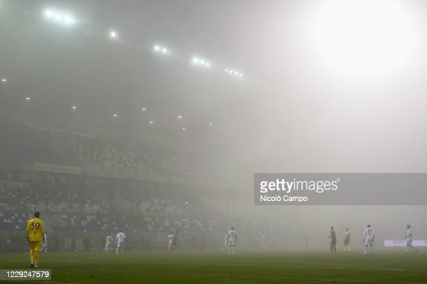 General view shows thick fog during the Serie A football match between US Sassuolo and Torino FC The match ended 33 tie