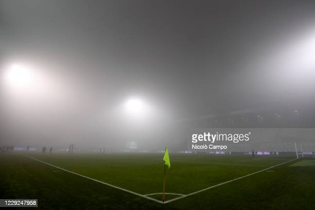 General view shows thick fog prior to the Serie A football match between US Sassuolo and Torino FC The match ended 33 tie