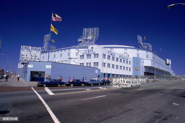 General view shows Tiger Stadium from the street outside circa 1989 in Detroit, Michigan.