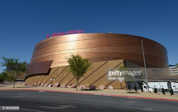 A general view shows TMobile Arena on April 5 2016 in Las Vegas Nevada The USD 375 million000seat sports and entertainment venue a joint venture...