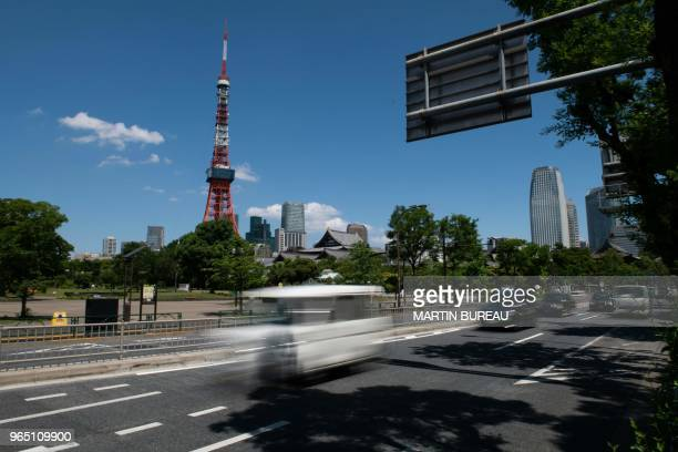 A general view shows Tokyo tower and part of the course to be used in the marathon event at the Tokyo 2020 Olympic Games in Tokyo on June 1 2018