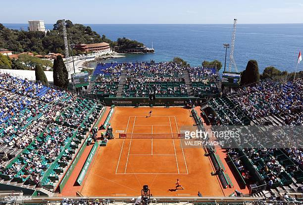 A general view shows visitors attending the match between France's Richard Gasquet and Spain's Nicolas Almagro during the MonteCarlo ATP Masters...