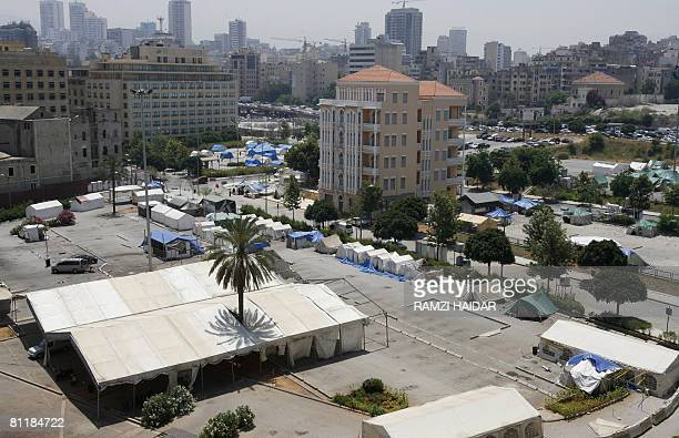 A general view shows where Lebanese opposition supporters held their protest camp in downtown Beirut on May 21 2008 Members of Lebanon's Hezbollahled...